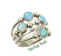 Silber Opalring. Kugeln Sterling silber Ring Sterling von MayaOr