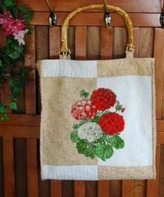 Advanced Embroidery Designs. Free Projects and Ideas. large summer tote bag with Geranium embroidery.