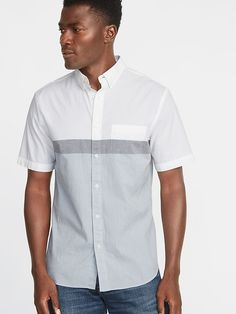 102ae394b Slim-Fit Built-In Flex Color-Block Everyday Shirt. Shop Old NavyButton Down  ...