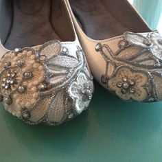 French Knot Lace Bridal Ballet Flats Wedding Shoes - All Full Sizes - Pick your own shoe color and crystal color. $85.00, via Etsy.