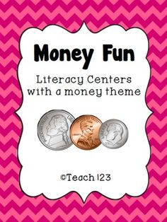 Money Fun - literacy activities with a money theme Teaching Money, Teaching Math, Literacy Centers, Classroom Activities, Daily 5 Math, Math Work, Guided Math, Math Classroom, School Fun