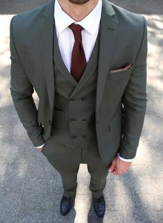 Dark Green 3 Piece Suit – Conquer Menswear Included are: Jacket Vest Trousers Lapel pin gift Cut: Slim FitStyle: Single BreastedFabric: Polyester & Viscose Men's Suits, Suits Usa, Cool Suits, Formal Dresses For Men, Formal Suits, Three Piece Suit, 3 Piece Suits, Mens Fashion Suits, Men's Fashion