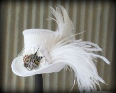 White Wedding, Queen Bee Steampunk Mini Top Hat, Alice in Wonderland Mini Top Hat, Tea Party Hat, Mad Hatter Hat, Bridal Shower on Etsy, $58.00: