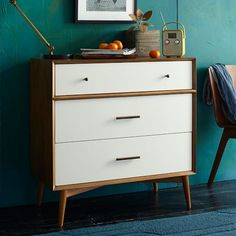 Furnishings and Decor: Mid-Century 3-Drawer Dresser - White + Acorn