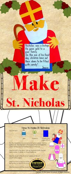 St. Nicholas/Sinterklaas craft activity K- 5 -Sure to be a treasured activity that students and their families will want to display year after year!