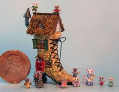 OOAK Miniature Dollhouse Storybook Shoe House Mice Handcrafted by Holly Allen | eBay