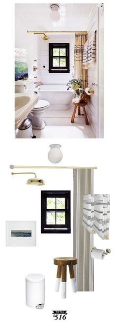 A rustic coastal bathroom with gold accents recreated by @audreycdyer for only $516 #roomredo