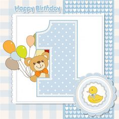 Cumpleaños número 1 tarjeta Vector Gratis