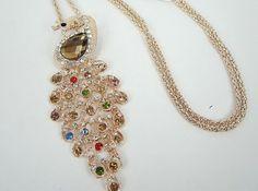 Peacock Rhinestone Cute Crystal Gold Tone by GrannysInspirations, $17.95