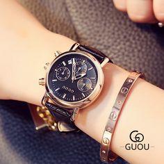 >> Click to Buy << Fashion Brand GUOU Clock Ladies Dress Leather 3 Eyes Calendar Watches Elegant Bracelet Watch Women's Wristwatch Relojes Mujer #Affiliate