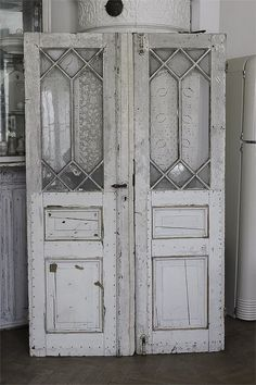 White. Doors. Leaded Glass. Divider. Chippy. Old.