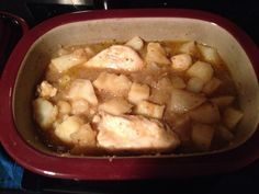 Kickin' Chicken. 3-4 large Chicken Breasts 1can chicken broth 1 Lipton Onion Soup 2-3 tbsp of butter. 4 large potatoes (or 6 small). Put in covered baker ( I use Pampered Chef). Chicken on bottom. Everything else on top. Microwave for 20 minutes. Sprinkle Weber's Kick'N Chicken seasoning on top and stir potatoes. Microwave 10 more minutes and done! You could use a regular pan and bake in oven on 350, but it would take an hour as opposed to 30 minutes.