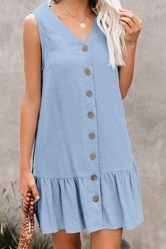 Tank Dress, Shirt Dress, Blue Dresses, Summer Dresses, Mini Dresses, Button Up Dress, Online Dress Shopping, Casual Dresses For Women, Dress Casual
