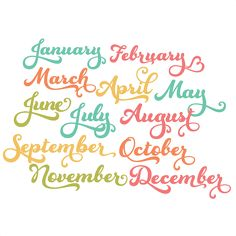 Months Of The Year Set 3 - monthsofyear50cents3110613 - 50¢ Store - Miss Kate Cuttables | Product Categories Scrapbooking SVG Files, Digital Scrapbooking, Cute Clipart, Daily SVG Freebies, Clip Art