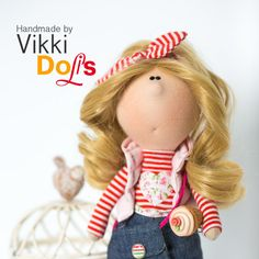 Textile Doll-Interior Doll-Toys-Fabric Doll-Doll by VikkiDoLis