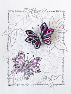 Important Trifles. Butterfly kanzashi. Graphic art.