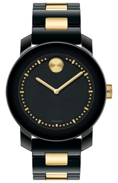 Movado Bold - Mid-size Movado BOLD watch, 36.3 mm black ceramic and yellow gold ion-plated stainless steel case, black dial with yellow gold-toned minute index and accents, black ceramic and yellow gold ion-plated stainless steel link bracelet with deployment clasp, K1 crystal, Swiss quartz movement, water resistant to 30 meters.