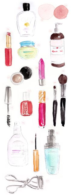 daily beauty routine of @Joy Cho / Oh Joy! / illustrated by jennifer vallez.