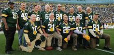 October 2, 2011:  1961 championship team honored at halftime. Front row, from left, John Roach, Jim Taylor, Tom Moore, Jesse Whittenton, Lee Folkins. Back row, from left, Willie Davis, Dale Hackbart, Forrest Gregg, Boyd Dowler, Paul Hornung, Ben Davidson, Gary Knafelc, Nelson Toburen, Jerry Kramer, Bob Skoronski and Fuzzy Thurston.
