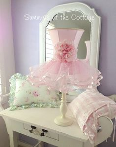 Darling shabby pink rose flower chic ruffles shade white lamp - ALL ABOUT Shabby Chic Banners, Shabby Chic Lamps, Romantic Shabby Chic, Shabby Chic Pink, Shabby Chic Bedrooms, Shabby Chic Cottage, Shabby Chic Style, Shabby Chic Furniture, Handmade Furniture