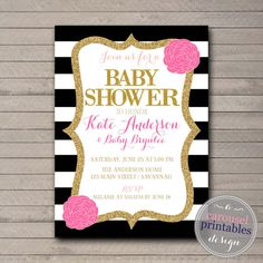 Black white baby shower invitations printed gold hot pink glitter hey i found this really awesome etsy listing at httpsetsylisting221853363pink black and white baby shower filmwisefo