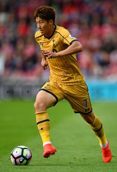 Heung-Min Son of Tottenham Hotspur in action during the Premier League match between Middlesbrough and Tottenham Hotspur at the Riverside Stadium on September 2016 in Middlesbrough, England. Tottenham Hotspur Players, London Pride, White Hart Lane, Premier League Matches, North London, Great Team, Football Players, Middlesbrough England, Sons