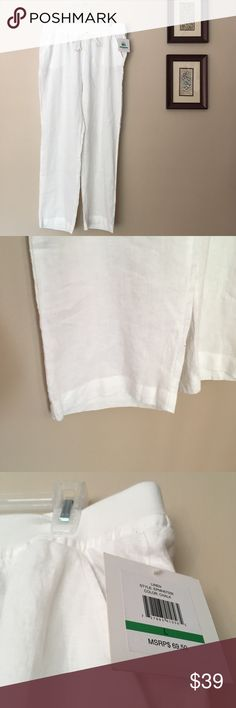 NWT Ellen Tracy Linen White Pull On Beach Pants L Ellen Tracy linen lounge pants size L. Great for the beach and the outdoors! NWT! In perfect condition. Has gold detail and pockets Ellen Tracy Pants