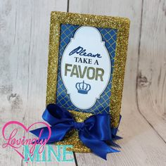 Glitter Gold & Royal Blue 4x6 Frame Favor Table by LovinglyMine