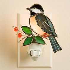 Bird stained glass nightlight --- I would not make this as a nightlight, but as apart of a bigger piece.