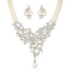 EVER FAITH Austrian Crystal Cream Simulated Pearl Floral Leaf Tear Drop Jewelry Set Clear N05203-1