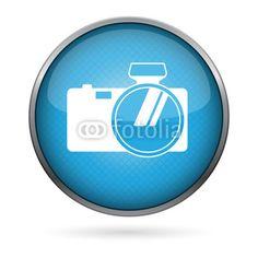 Vektor: camera buttaon blue