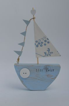 Sail away pretty sailboat by upcycle art creations