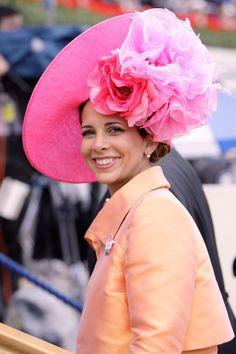 Princess Haya bint al Hussein is one of the most influential people in the Middle East - not just because she is the daughter of the late King of Jordan and wife of the ruler of the Emirates, but because she is changing how women are perceived in a deeply Funky Hats, Red Hats, Princess Haya, Royal Ascot Hats, Races Fashion, Church Hats, Fascinator Hats, Fascinators, Wedding Hats