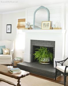 8 Abundant Clever Hacks: Fireplace Living Room Windows fake fireplace with tv.Fireplace With Tv Above Cable Box fireplace decorations floor plans.Tv Over Fireplace Focal Points. Fireplace Redo, White Fireplace, Fireplace Remodel, Fireplace Mantels, Fireplace Makeovers, White Mantle, Fireplace Brick, Mantles, Fireplace Ideas