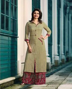 Buy Beige Long Kurti with Printed Palazzo. Shop a Party wear designer Kurti with Palazzo online, Purchase a Designer Kurti with Palazzo at Best price Plain Kurti Designs, New Kurti Designs, Simple Kurti Designs, Kurta Designs Women, Kurti Designs Party Wear, Kurti Sleeves Design, Kurta Neck Design, Sleeves Designs For Dresses, Dress Neck Designs