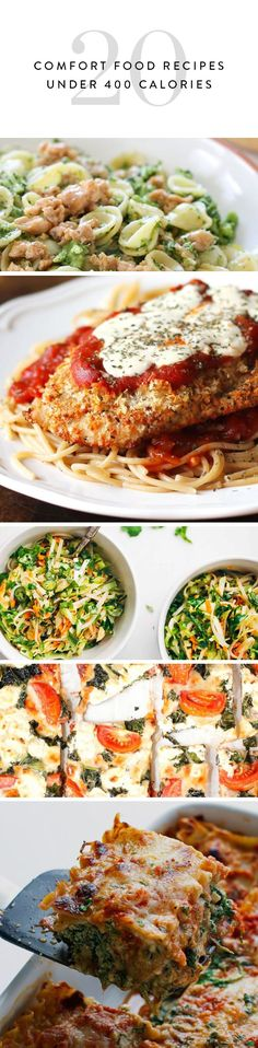 You know those nights when you're just really craving mac and cheese, but you really, really don't want to sabotage a whole day of eating healthy? We've got you covered. Here are 20 totally satisfying comfort-food recipes, all under 400 calories. 400 Calorie Dinner, Low Calorie Dinners, Low Calorie Recipes, Diet Dinner Recipes, Healthy Diet Recipes, Healthy Eating, Cooking Recipes, Healthy Lunches, Dinner Healthy