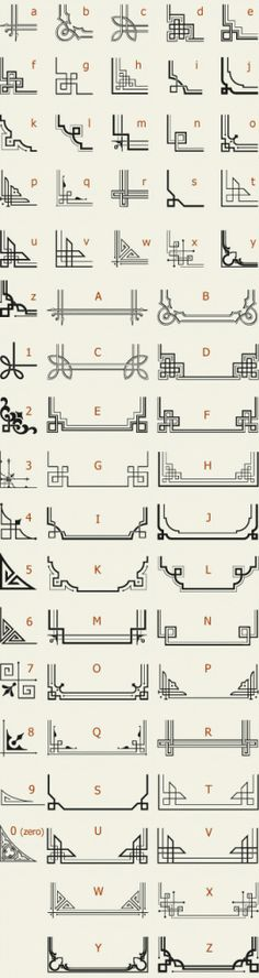The perfect reference list for Art Deco Letterhead Fonts / LHF Corner Specimens / Scrolls and Borders Motif Art Deco, Art Deco Design, Art Deco Borders, Design Design, Quilting Designs, Embroidery Designs, Modern Embroidery, Cadre Design, Doodles