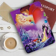 Disney Sleeping Beauty and Prince Leather Passport Wallet Case Cover