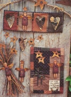 Pattern Evening Angel Primitive Painted Angel Collage Wall Hangings 1991   eBay