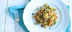 BROWN RICE SALAD: A simple dish made from scratch and this Brown Rice Salad is perfect shared with family and friends at parties, get-togethers or picnics this summer. #onehandedcooks