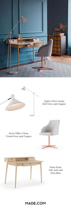 Create a clean, organised workspace with Ogilvy lamp, Keira office chair and… Home Office, My Living Room, Living Spaces, Room Inspiration, Interior Inspiration, Interior Architecture, Interior Design, Interior Work, Appartement Design