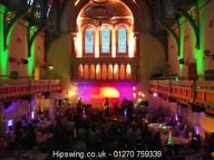Green and Purple Wedding Lighting at Congleton Town Hall, Cheshire
