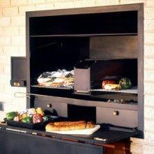 Super Deluxe Built-in Braai,ek hou van sulke units, dalk net stainless steel Built In Braai, Outdoor Landscaping, Outdoor Decor, Grilling, Home Improvement, Bbq, New Homes, House Styles, Farm House