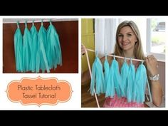DIY Tassel Garland tutorial using plastic party tablecloth. Great for party decorations and super inexpensive!