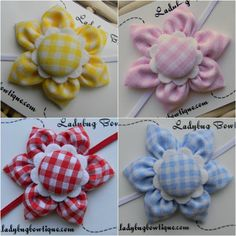 Sweet Six-Petal Fabric Flower Hair Clip or Skinny Elastic Headband - Choose Your Color - Yellow Pink Blue or Red