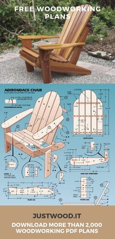 Ted's Woodworking Plans Adirondack Chair Plans More Get A Lifetime Of Project Ideas & Inspiration! Step By Step Woodworking Plans Woodworking Projects Diy, Woodworking Furniture, Diy Wood Projects, Teds Woodworking, Outdoor Projects, Furniture Projects, Diy Furniture, Woodworking Apron, Woodworking Chisels