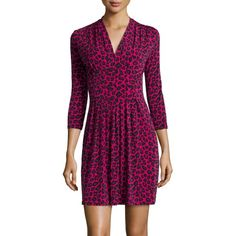 """Catherine Catherine MalandrinoJersey Animal-Print 3/4-Sleeve Dress, Electric PinkDetailsCatherine Catherine Malandrino animal-print jersey dress. Approx. 37 InchL from dress shoulder to hem (size s) . V neckline. Three-quarter sleeves. Pleated skirt. Pullover style. Polyester / spandex; dry clean. Imported. Designer About Catherine Malandrino: French designer Catherine Malandrino meshes the romance of Paris with the energy of New York. """"I design for the ultra-feminine, audacious, curious…"""
