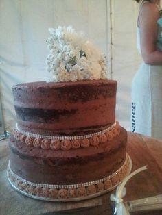 Choc mud Naked Iced wedding cake