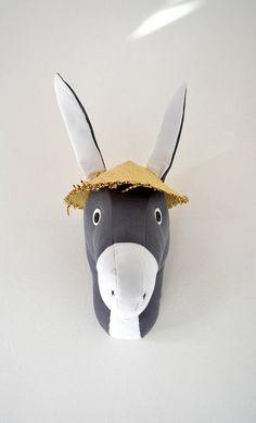 Donkey Faux Taxidermy/DonkeyTrophy Head/ Fabric Animal