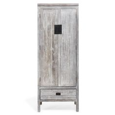 Exclusively at ABC, this armoire combines the modernity of sleek metal with the timeless texture of refurbished pine to create a fusion of old and new. Finished in a weathered-gray patina, this piece is rusticity redefined. It is a quintessential piece in any bedroom or dressing room.